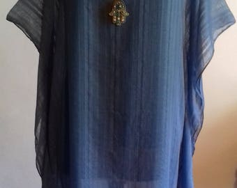 Kaftan, Dress,Tunic,Blue Jean Color,Beach,Leisure,Loose fit,Ethnic,Boho,Gypsy,Wanderlust