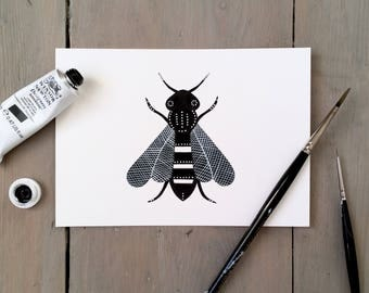 Beatrice Bee - Original Contemporary 4x6 Watercolour Painting - Black and White Art - by Natasha Newton
