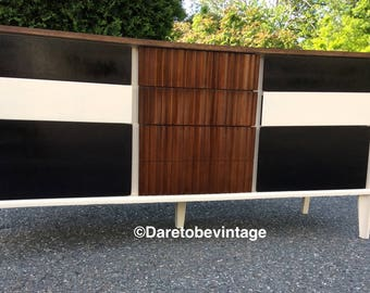 SOLD Mid Century Modern Dresser - Mid Century Modern Brasilia Style Credenza - Long and Low Mid Century Dresser  - Painted Modern Dresser