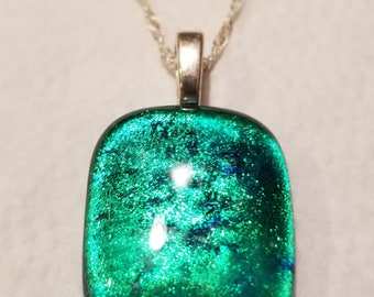 Green Fused Glass Dichroic Pendant w/Chain