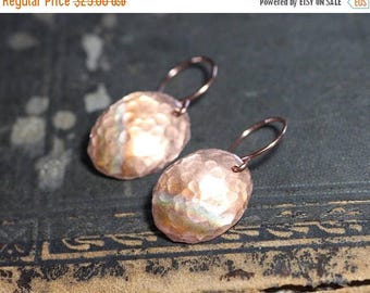 SALE Textured Copper Earrings Hammered Copper Oval Disk Earrings Rustic Jewelry
