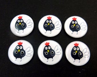 """6 Black and White Rooster Sewing Buttons. Great for knitting, sewing, crafts! 3/4"""" or 20 mm. Handmade By Me.  Washable."""