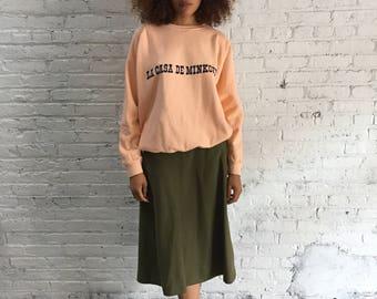 "vintage peach sweatshirt with ""La Casa De Minkoff"" screenprint"