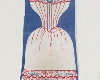 Vintage Towel or Wall Hanging Naughty Naughty Merry Widow RWB