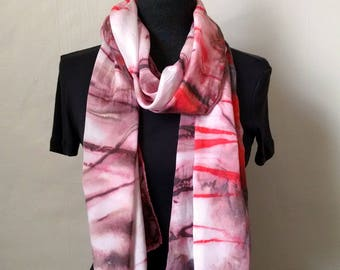 Brown Silk Scarf, Handpainted Brown Red Silk Scarf , Abstract Scarf, Striped Scarf, 14x68 inches, Urban Scarf, Unisex Scarf