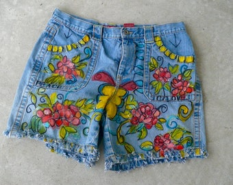 Women's Denim Hand Painted Blue Jeans Hand Fringed Shorts Flowers Peace Freehand Painted Jeans