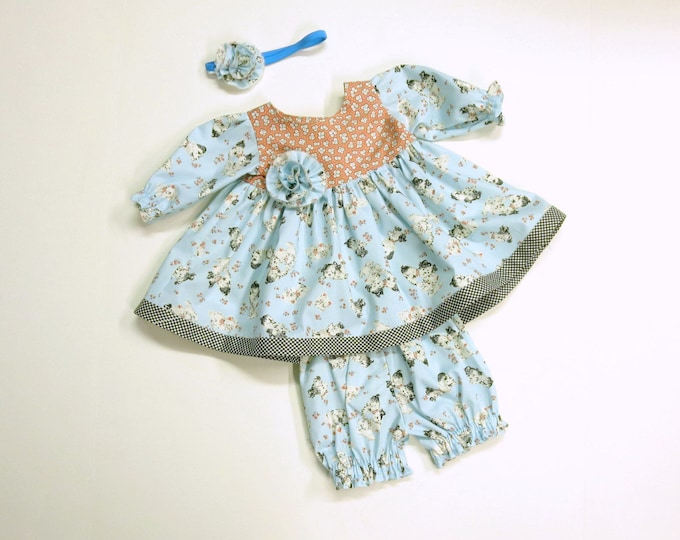 Boutique Reborn Doll Outfit - Newborn Baby Dress - Clothes - Matching Pantaloons - Long Sleeves - Headband - Custom Fabrics Available