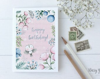 "greeting card - card -bird - flowers - friends - birthday - thank you - thinking of you - ""Joyful Heart!"""