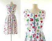 50s Floral Dress | Blumenstudie | 1950s Sundress | Small S