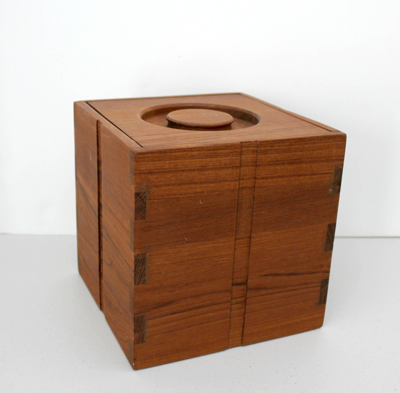 Vintage Teak Wood Ice Bucket By Kalmar Designs Mid