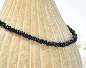 Black Ankle Bracelet Black Anklet Adjustable Ankle Bracelet Minimalist Black Anklet