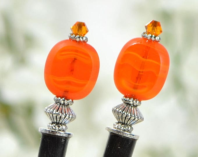 "SALE - Orange Hair Sticks Small Hairstick Hair Chopstick Geisha Hair Pins Beaded Hair Stick Handmade - ""Amabel"""