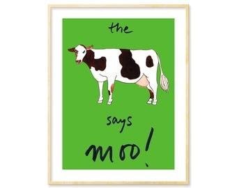 Cow Print, Nursery Artwork, Cow Art, Cow Decor, Farmhouse Decor, Farm Animal Print, Farm Animal Baby Gift,Whimsical Art, Kelly Green Nursery