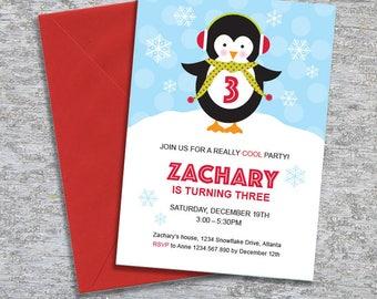 Penguin Birthday Party Invitation – DIY Printable Personalized – Penguin Boy (Digital File)