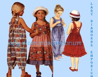 McCalls 7010 Girls Back Laced Sundress & Jumpsuit in 2 Lengths Childs size 2 3 4 or 4 5 6 0r 6 7 8 Vintage Sewing Pattern Uncut FF