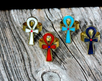 Egyptian Inlaid Brass Turquoise Lapis Lazuli Red and White Colors ANKH Adjustable Vintage Statement Ring Hand Crafted Artisan Jewelry