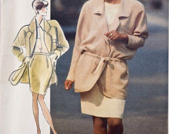 Vogue 2610 Sewing Pattern Carmelo Pomodoro 1990s Jacket Loose Fitting Drawstring Tapered Skirt Vogue American Designer UNCUT FF Size 8-10-12