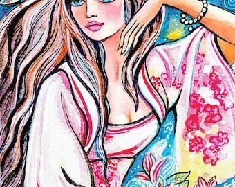 Asian woman painting, Japanese woman, bird, wall decor, art, Asian art, poster woman wall print 7x10+