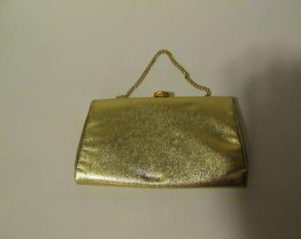 Vintage Gold Purse Metallic Gold Vintage Handbag Textured Faux Leather Chain Handle Vegan Friendly Handbag Evening Bag 1960s 60s Purse