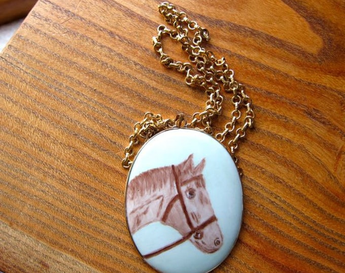 80s Horse Necklace | Large Pendent Necklace | Animal Jewelry | Womens Girls Nostalgic Hand Drawn Pony Chain Necklace