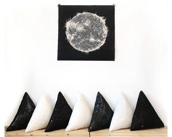 Space pillow, triangle pillow, triangle cushion, lumbar pillow, nursery pillow, Geometric Pillow, modern nursery decor, geometric cushion