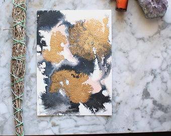 "abstract watercolor painting by Jules Tillman. 5""x7"" small original art. gold, black, white & pink art. Modern, minimal watercolor wall art"