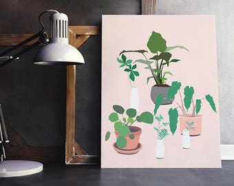 plant party! modern botanical plant art print. Fine art print. minimal abstract digital illustration millennial pink green tropical art