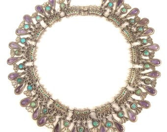 Stunning vintage hand-signed Matilde Poulat Matl 40s-50s Mexican sterling, 28-amethyst, turquoise squash blossom necklace from estate 4.3 oz
