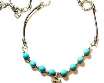 Unique Women's Necklace,Anchor Necklace,Beads Chain,Leather Necklace