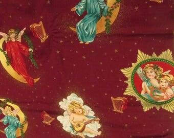 "Vintage Angel Fabric Cherub Celestial Fabric Cotton Novelty Fabric Quilting Sewing Fabric Concord Fabrics Joan Kessler 1.35+ Yards x 44"""