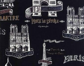 Bienvenue A Paris Fabric French Landmark Fabric Sacre Coure Montmartre L'Arc De Triomphe Tour Eiffel Eiffel Tower 1.5+ Yard