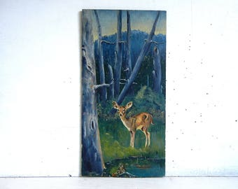 Vintage Deer Painting on Board | Rustic Woodland Painting | Original Deer Reflection Painting | OOAK Landscape Painting