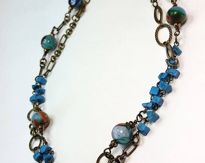 Turquoise and Glass Beads on Mixed Antique Brass Chain, LONG Necklace with Earrings Set