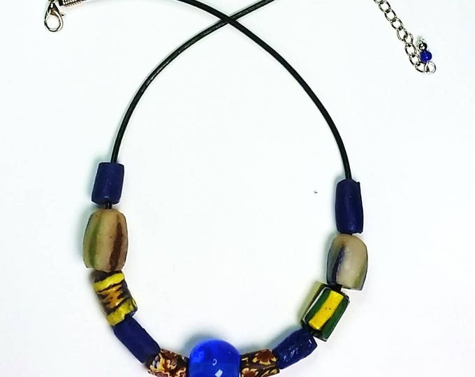 Trade Bead Necklace on Leather Cord #2