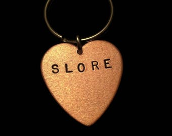 Slut Keychain, Boo You Whore Keychain, Slore, Copper Heart Keychain, Metalwork, Naughty Keyring, Skank, Minx, Hussy, Sex, Metal, Metal Taboo