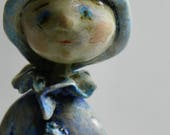 One of a Kind Sculpted paper mache French Little Boy On the Moon Folk Art