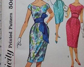 1950s Misses One Piece Dress Pattern with Belt Simplicity 2950 Size 12 Bust 32 rounded neckline cap sleeves