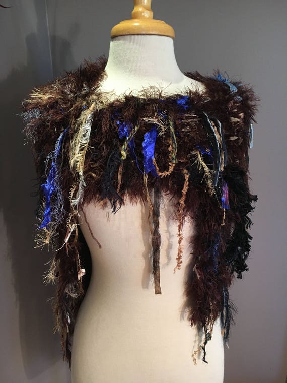 Dumpster Diva Fringed Poncho with brown faux fur base, Offset Knit Poncho or shoulder wrap, Bohemian, Couture fashion, fur capulet