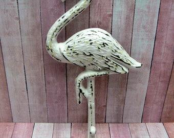 Flamingo Cast Iron Wall Hook Shabby Chic White Rustic Beach Decor