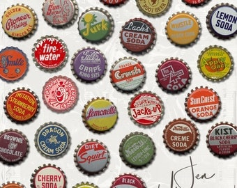 Vintage Bottlecaps digital scrapbooking graphics kit / clipart / altered art / mixed media collage / instant download / printable