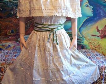 Mexican Dress, Off Shoulder, Ivory, Natural, Cotton, M/L