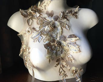 GOLD Lace Applique #2, Beaded and Embroidered for Lyrical Dance, Ballet, Couture Gowns F16