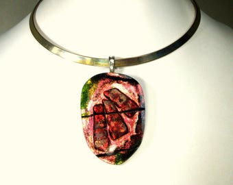 Dichroic HOT Pink Red Shimmering  Glass Pendant , JUST the AMULET, Handmade Flashy Red Pink & Black   Aurora Borealis Glass Art-To-Wear