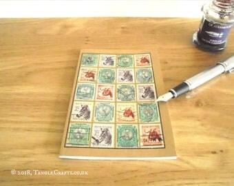 South Africa Wildlife Notebook, Vintage Postage Stamp Travel Journal