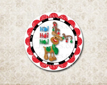 Christmas Stickers Rudolph Deer Ho HO Ho  Holiday Envelope Seals Party Favor Treat Bag Stickers CS004