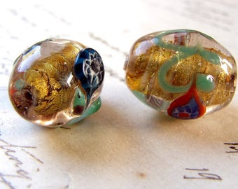pair large glass beads - vintage lampwork  in amber & aventurine - 18mm