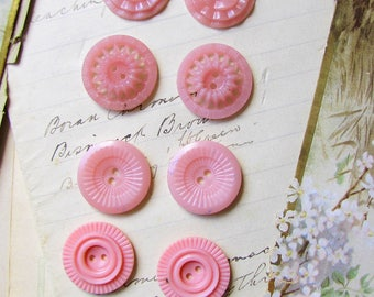 vintage pink celluloid buttons - 4 pairs of 1930s 1940s pastel pretty dress buttons - fashion restoration or retro craft projects