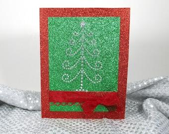 Christmas cards, Merry Christmas cards,  Handmade Christmas cards, Holiday cards, Seasonal card, Rhinestone tree