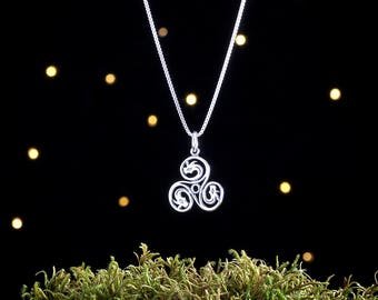 Sterling Silver Celtic Dragon Triskelion - Double Sided - (Charm, Necklace, or Earrings)