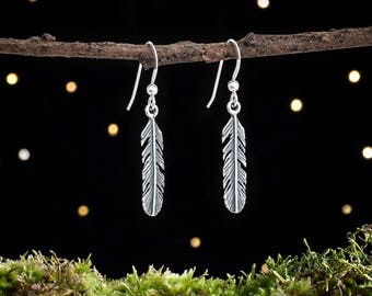 Sterling Silver Feather Earrings - Simple Everyday Jewelry - Small, Minimalist Bohemian